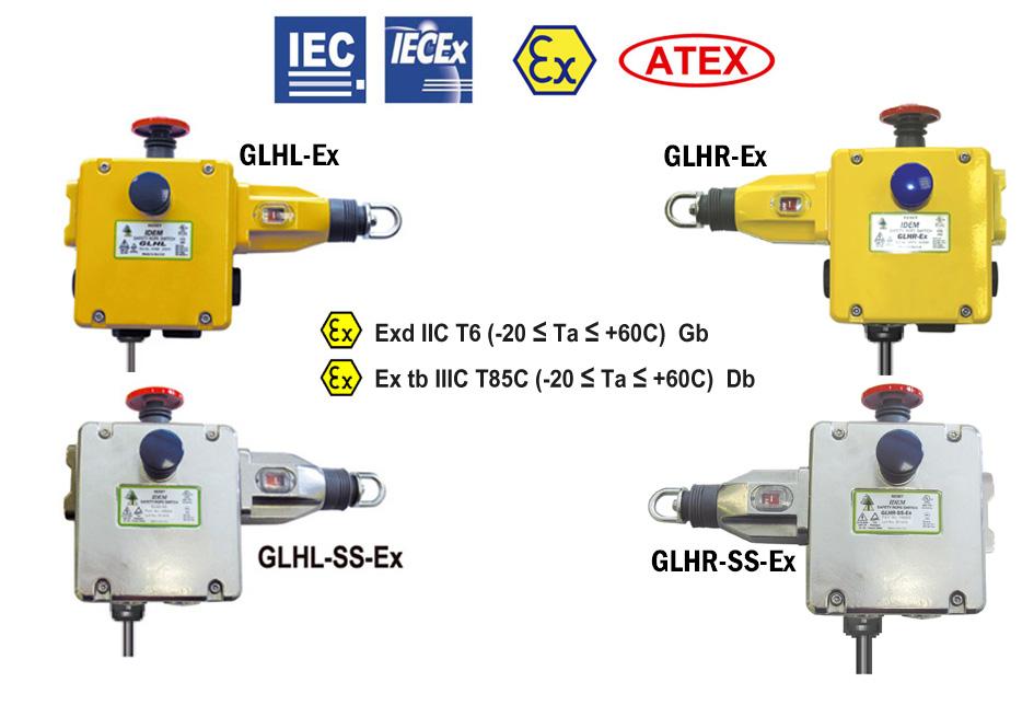 GLHL/R-Ex & GLHL/R-SS-Ex Comutatoare de siguranță cu coardă de tracțiune