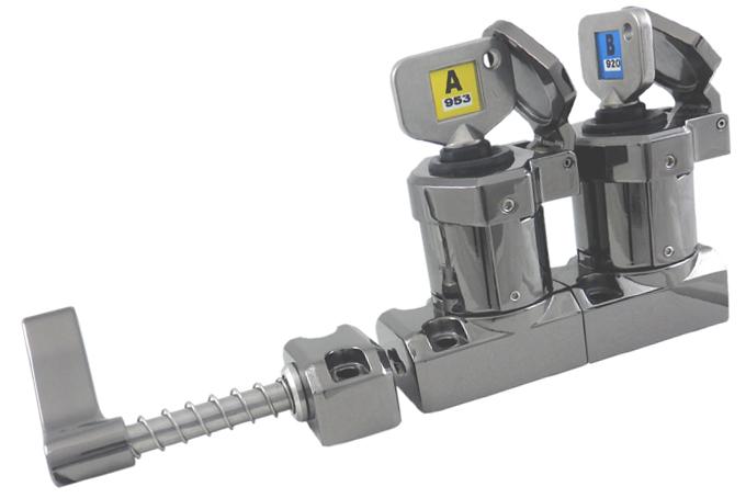 M-HD-11 Interblocaj cu mâner, cu 2 chei (metal turnat sub presiune, lustruit oglindă)