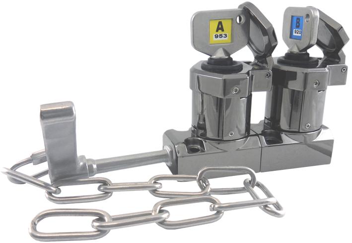 Interblocaj  cu mâner (cu lanț), cu două chei (din metal turnat sub presiune, lustruit oglindă) M-HD-C-11