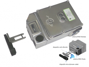 Comutator de blocare KLT-SS-RFID din otel inoxidabil, cu solenoid